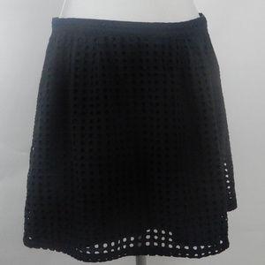 Banana Republic Black Eyelet A-Line Side Zip Skirt